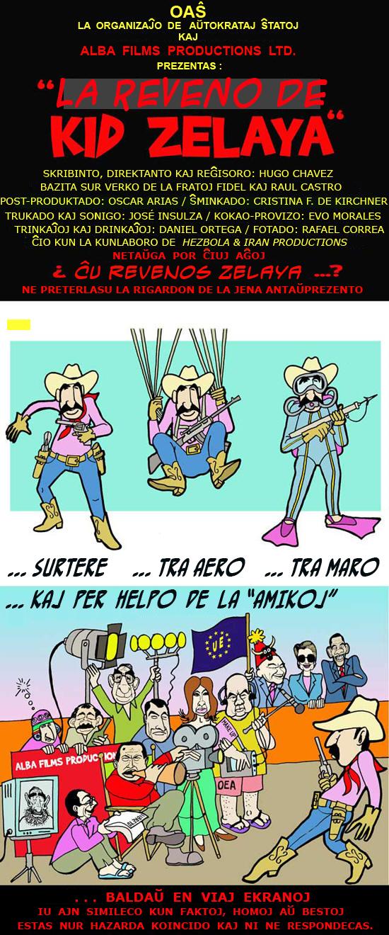 Karikaturo far Alfredo Pong pri LA REVENO DE ZELAYA AL HONDURO LAŬ ALBA FILMS PRODUCTIONS